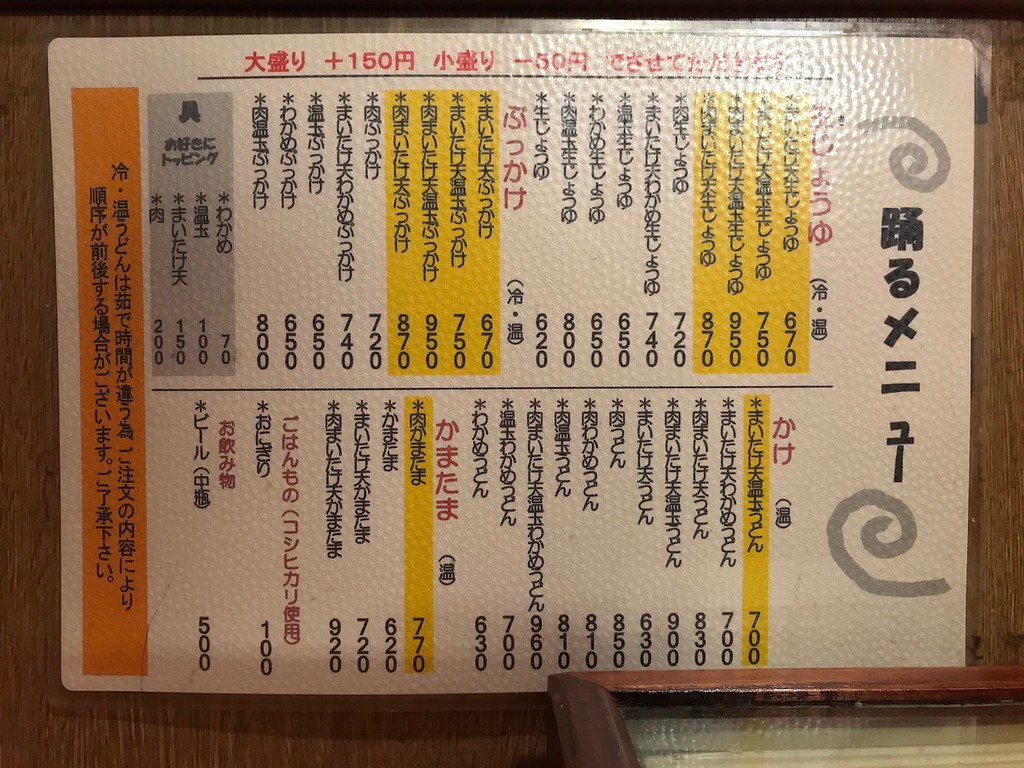The menu in Japanese.