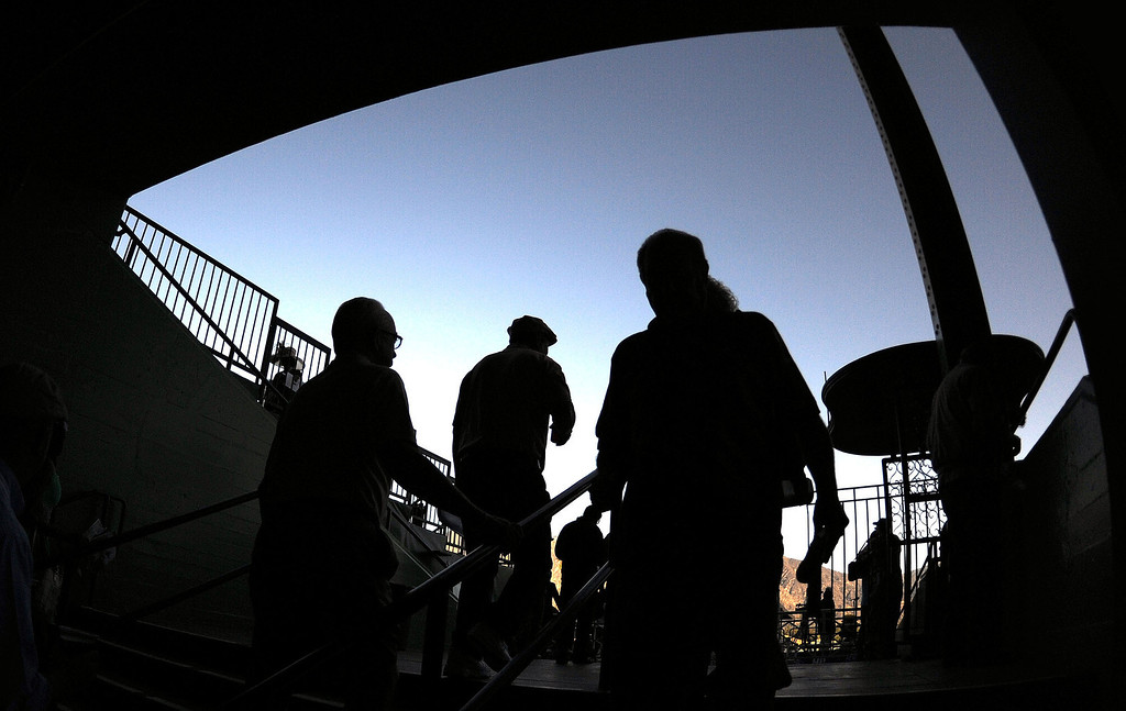 . Horse racing fans make their way to the grand stands during the Breeders\' Cup at Santa Anita Park in Arcadia, Calif., on Saturday, Nov. 2, 2013. 
