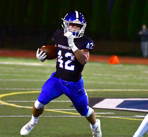 10/11/2019 Mike Orazzi | StaffrSouthington's Dillon Kohl (42) during Friday night's football game with Manchester in Southington. r