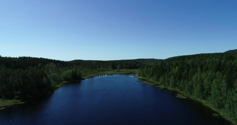 Aerial: 90 degrees pan over water to the footbridge traversing the lake