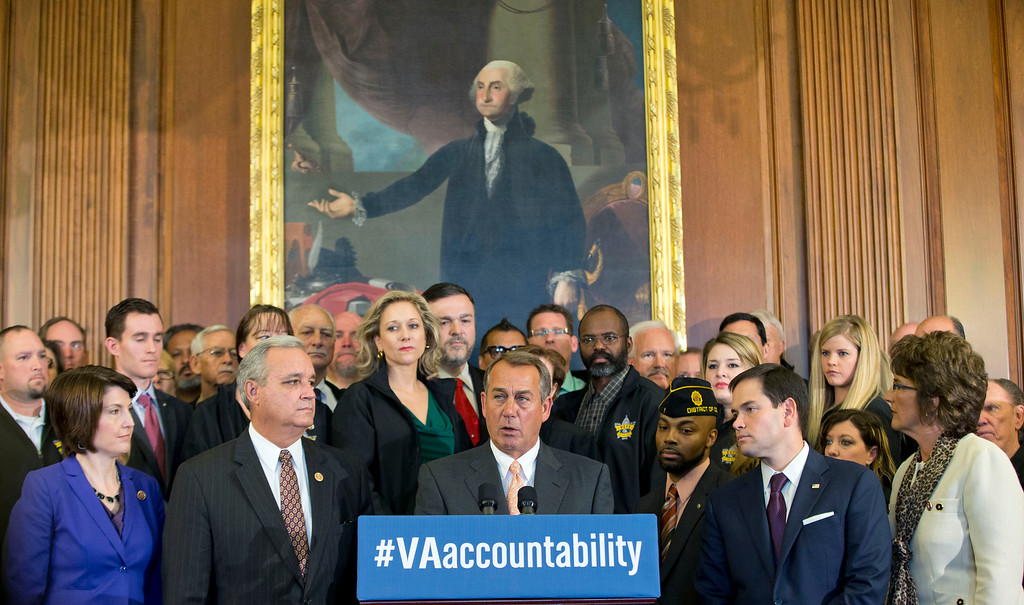 . House Speaker John Boehner of Ohio, center, with GOP leaders and representatives of several veterans organization speaks during a news conference on Veterans Affairs accountability legislation, Thursday, April 3, 2014, on Capitol Hill in Washington. Front row, from left are, Rep. Cathy McMorris Rodgers, R-Wash., Rep. Jeff Miller, R-Fla., Boehner, Sen. Marco Rubio, R-Fla., and Rep. Jackie Walorski, R-Ind. (AP Photo/Pablo Martinez Monsivais)