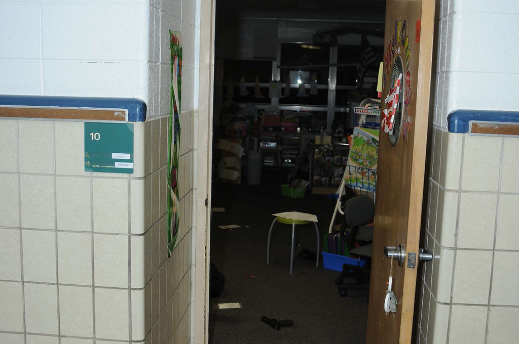 . In this handout crime scene evidence photo provided by the Connecticut State Police, shows an interior at the Sandy Hook Elementary School following the December 14, 2012 shooting rampage, taken on an unspecified date in Newtown, Connecticut.  (Photo by Connecticut State Police via Getty Images)