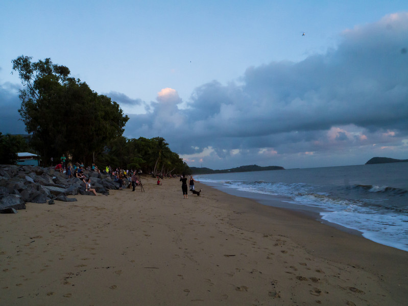 Lots of people set up on the beach to view the total eclipse.