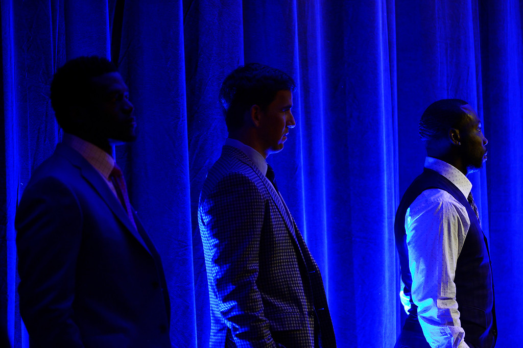 . SAN FRANCISCO, CA - FEBRUARY 05: Anquan Boldin, Eli Manning and Benjamin Watson wait to speak as  finalists for the Walter Payton NFL Man of the Year Award at the Moscone Center in downtown San Francisco, CA. February 05, 2016 (Photo by Joe Amon/The Denver Post)
