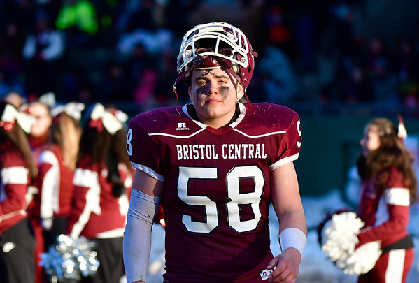 11/23/2018 Mike Orazzi | Staff Bristol Central's Jakob Salinas (58) during the Battle for the Bell at Muzzy Field Friday. Central won 24-19.