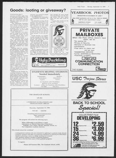 Daily Trojan, Vol. 97, No. 5, September 10, 1984