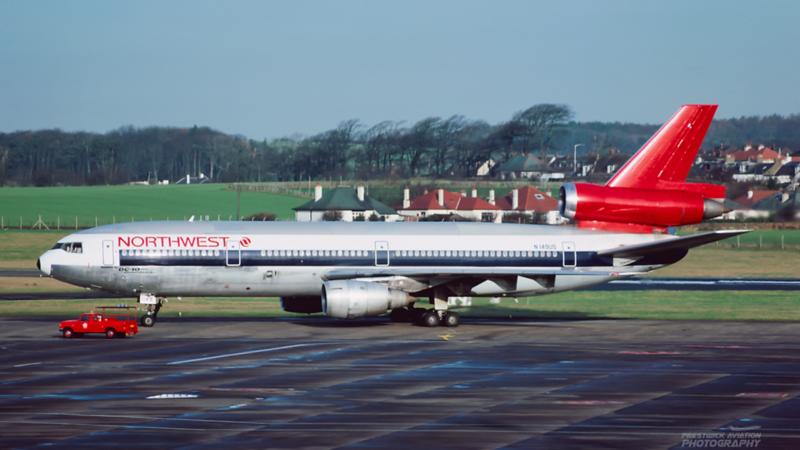 N149US. McDonnell Douglas DC-10-40. Northwest. Prestwick. 1989.