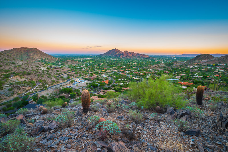 Camelback Mountain with the Phoenix Skyline, Photography by Tony Mariella
