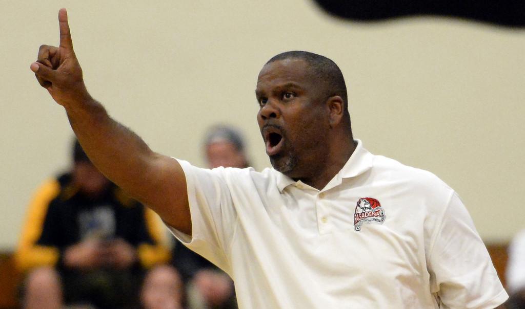 . Pasadena head coach Tony Brooks in the first half of a prep playoff game against Ontario at Pasadena High School in Pasadena, Calif., on Friday, Feb.21, 2014. (Keith Birmingham Pasadena Star-News)