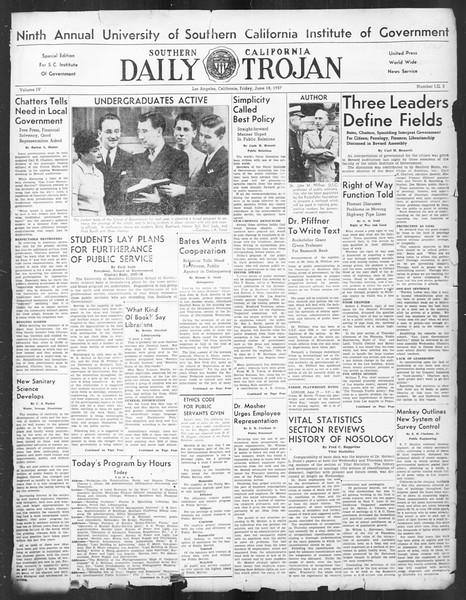 Southern California Daily Trojan: U.S.C. Institute of Government, Vol. 4, No. 3, June 18, 1937