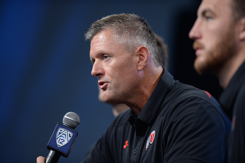 . Utah Coach Kyle Whittingham.Pac12 media Day at Sony Studios.  Photo by Brad Graverson 7-26-13