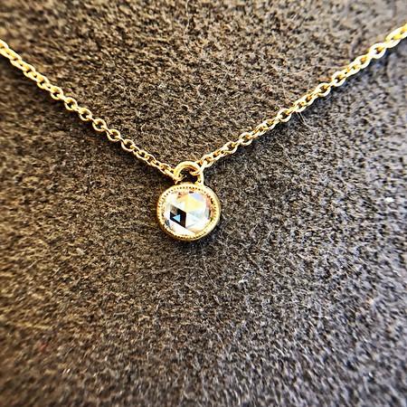 ".53ct Round Rose Cut Diamond Pendant, JbyG ""Satchel"" Bezel Style"