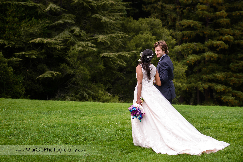 bride and groom walking at Tilden Regional Park, Berkeley