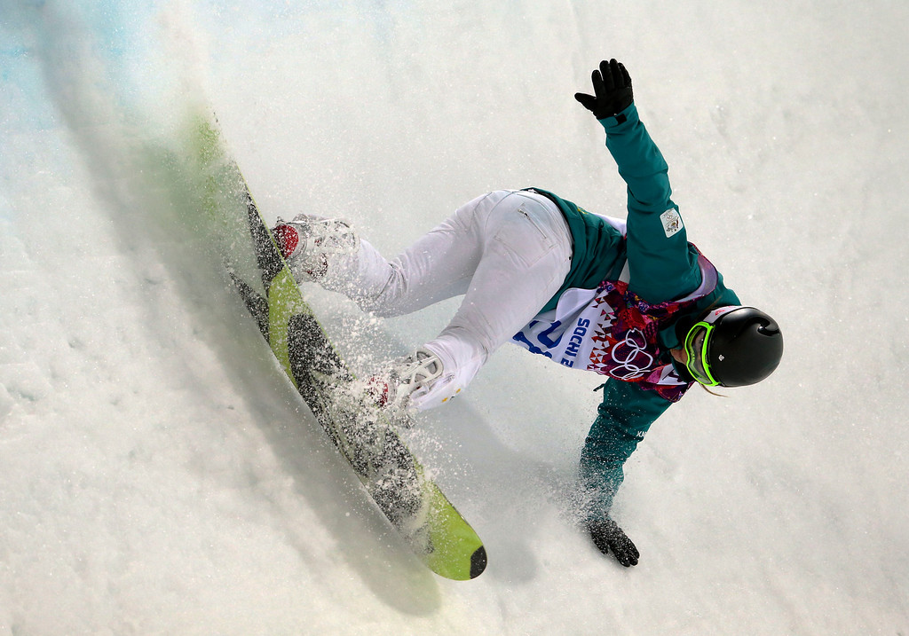 . Australia\'s Torah Bright competes during the women\'s snowboard halfpipe final at the Rosa Khutor Extreme Park, at the 2014 Winter Olympics, Wednesday, Feb. 12, 2014, in Krasnaya Polyana, Russia. (AP Photo/Sergei Grits)