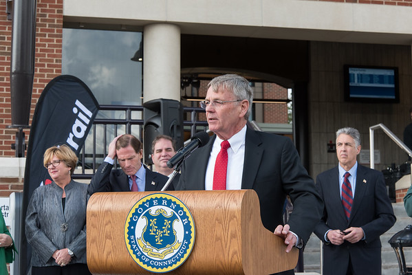10/23/18 Wesley Bunnell | Staff State and local officials held a ribbon cutting Tuesday afternoon officially opening the recently completed Berlin Train Station which runs on the Hartford Line. DOT Commissioner James Redeker speaks as Rep. Cathy Abercrombie, Senator Richard Blumenthal and Mayor Mark Kaczynski look on.