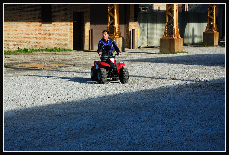 I love it. She has that huge smile on her face in every shot on the bikes and quads! Good to see she likes riding