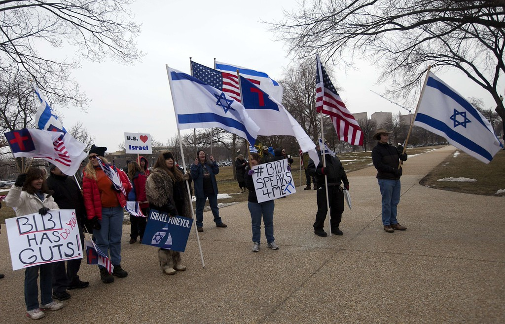. Supporters of Israel rally at the US Capitol where Israeli Prime Minister Benjamin Netanyahu is addressing a joint session of the US Congress in Washington, DC, on March 3, 2015. AFP PHOTO/ ANDREW Caballero-Reynolds/AFP/Getty Images