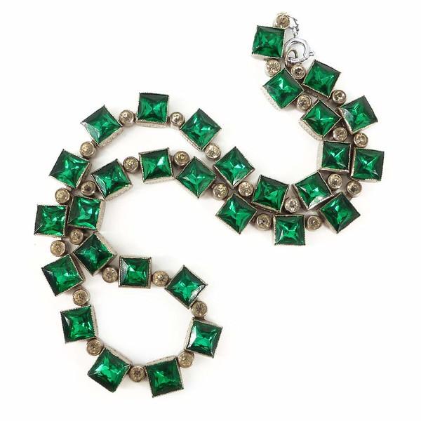 Antique Art Deco Green Paste Glass Bezel Set Panel Necklace