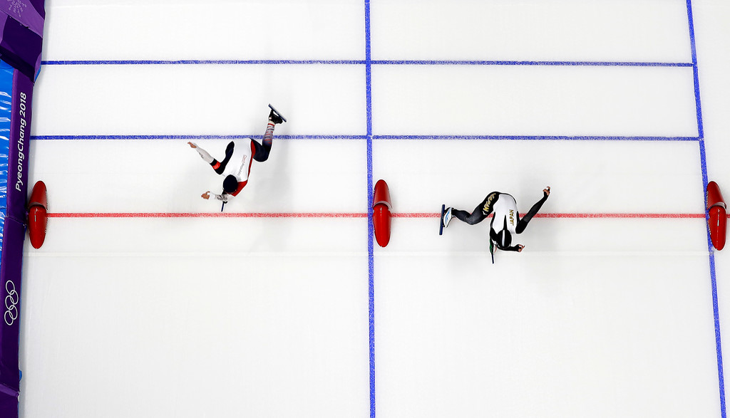 . Japan\'s Nao Kodaira, right, sets a new Olympic record as she pushes her skate across the finish line ahead of Karolina Erbanova of the Czech Republic during the women\'s 500 meters speedskating race at the Gangneung Oval at the 2018 Winter Olympics in Gangneung, South Korea, Sunday, Feb. 18, 2018. (AP Photo/Eugene Hoshiko)
