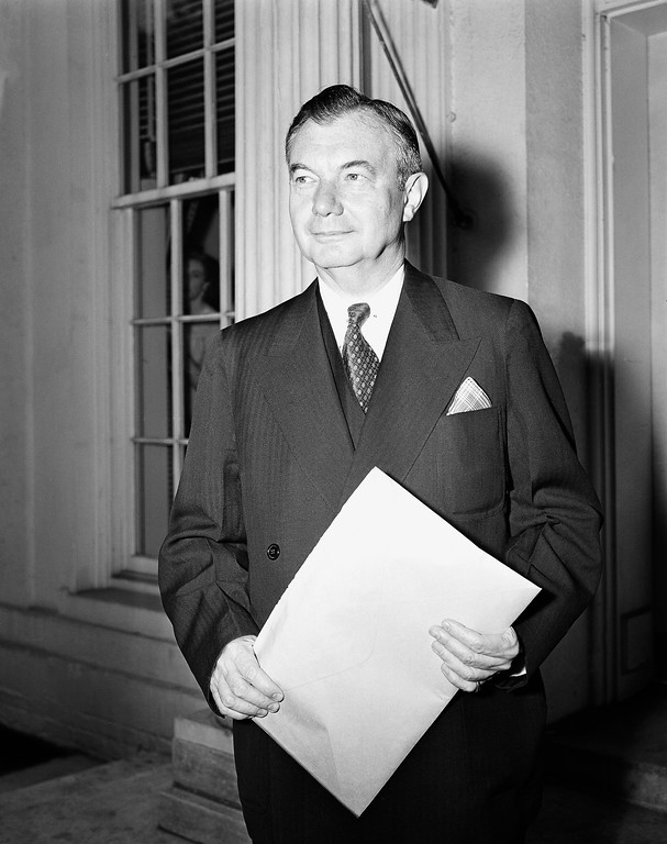 . Associate Justice Robert H. Jackson, leaving the White House, August 15, 1946 after his first conference with President Truman since his return from the war crime trials in Germany, told newsmen he expects to be present when the U.S. supreme court meets next in October. (AP Photo/William J. Smith)