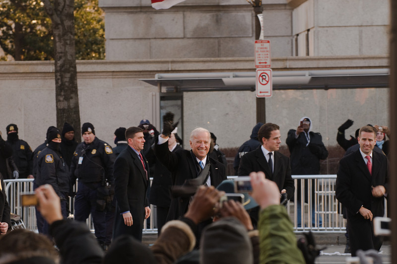 Vice President Joe Biden waved to the cheering crowd along Pennsylvania Avenue during the Presidential Inaugural Parade - Jan 20, 2009.