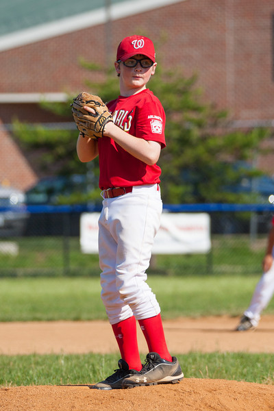 Christopher pitching in the top of the 5th inning. The Nationals struggled on both offense and defense in a 2-11 loss to the Orioles. They are now 7-4 for the season. 2012 Arlington Little League Baseball, Majors Division. Nationals vs Orioles (19 May 2012) (Image taken by Patrick R. Kane on 19 May 2012 with Canon EOS-1D Mark III at ISO 400, f4.0, 1/3200 sec and 192mm)
