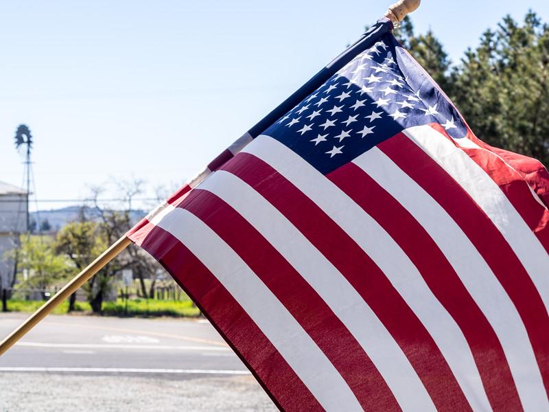 American Flag on Yosemite Visitors Center