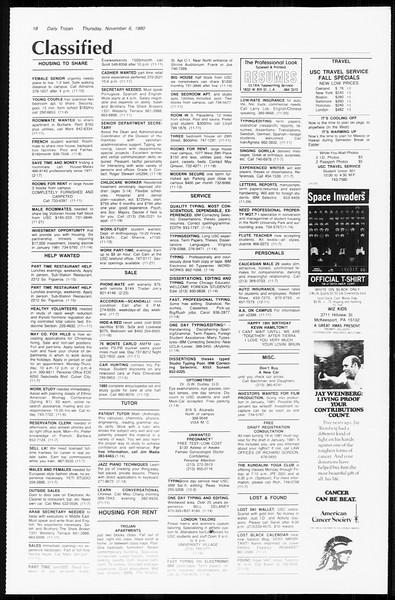 Daily Trojan, Vol. 89, No. 37, November 06, 1980