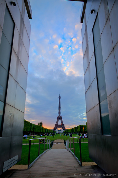 Eiffel Tower, view from Peace memorial on Champ de Mars.