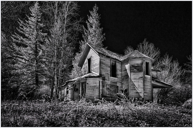 Old Oregon Home, Oregon, Black and white, fine art, infrared, artistic.jpg