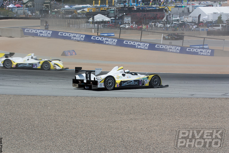 Lucas Downs spins the No. 8 Merchant Services Oreca FLM-09 into Andretti Hairpin.  Somehow, he didn't collect either Gonzalez (9) or Mike Guasch.