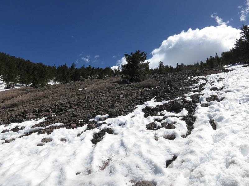 Ascending toward the summit ridge.