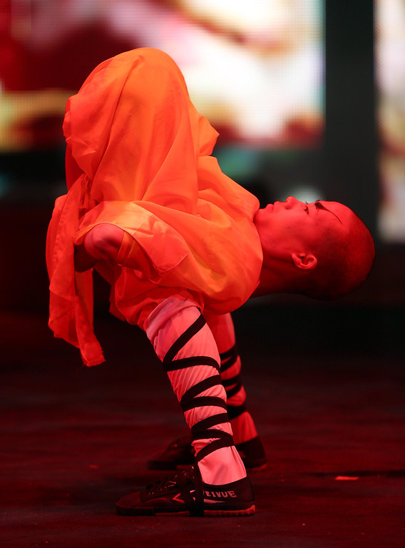 . A contortionist in the Shaolin Warriors perform during the UniverSoul Circus show under the big top on Hegenberger Road in Oakland, Calif., on Friday, April 5, 2013.  (Jane Tyska/Staff)