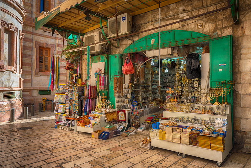 Shop in early morning near the Church of the Holy Sepulcher in Old Jerusalem