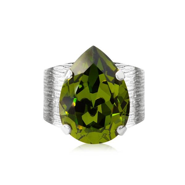 Classic Drop Ring / Olivine Rhodium