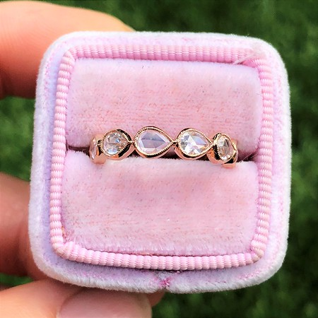 1.26ctw Rose Pear Shaped Eternity Band, 18kt Rose Gold