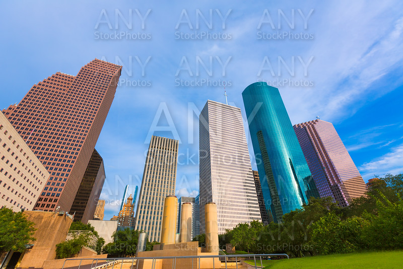 Houston skyline from Tranquility Park Texas US