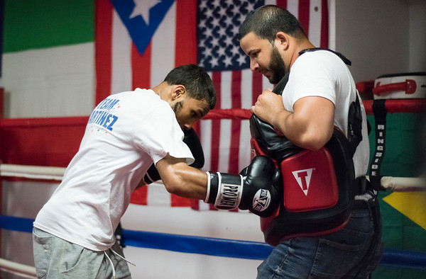 06/06/19 Wesley Bunnell | Staff Nathan Martinez of Martinez Boxing Club at 64 Beaver St works out ahead of his fourth professional fight on June 29th at Foxwoods Casino.