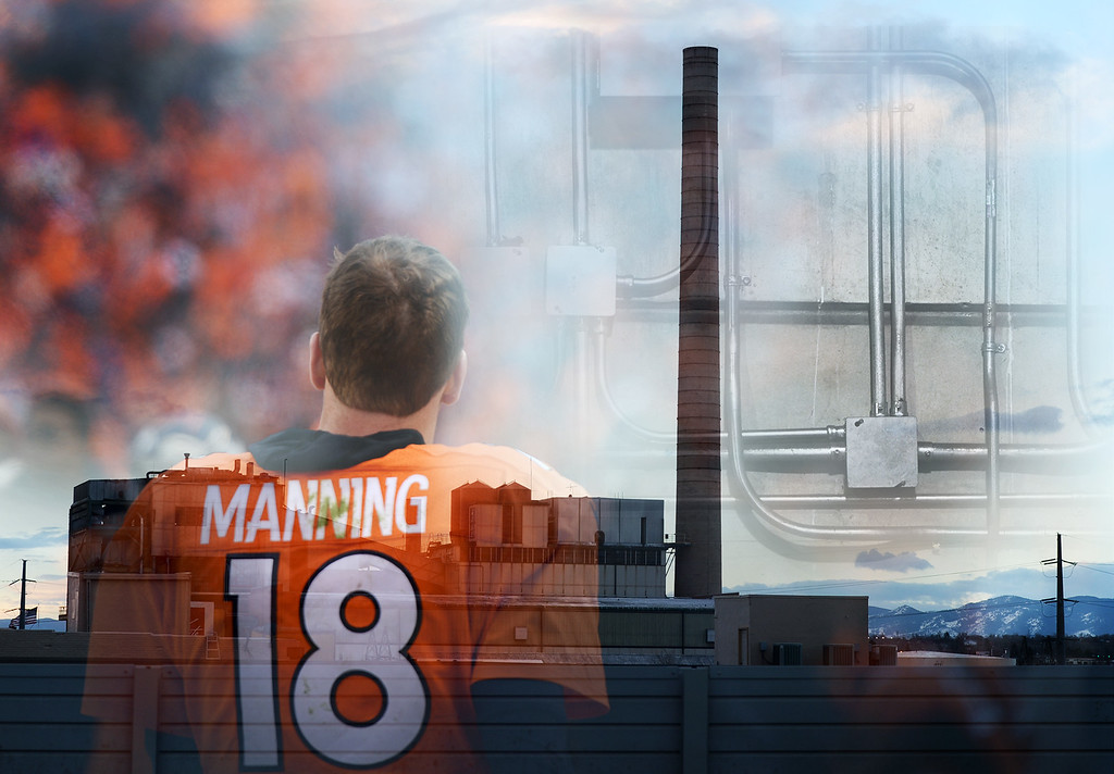 . This multiple image composite contains scenes from the Denver Broncos AFC championship game along with scenes from the Denver metro area. (Photo by RJ Sangosti/The Denver Post)