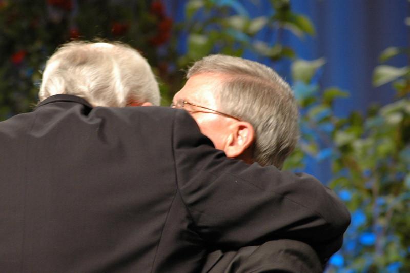 Bishop Hanson embraces Pr. Gerald Kieshnick, president of the Lutheran Church--Missouri Synod