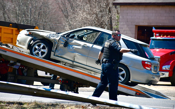 4/11/2019 Mike Orazzi | Staff The scene of a two-car crash at the intersection of Bemis and Poland Brook Road in Plymouth Thursday morning. Both vehicles were towed from the scene.