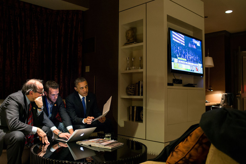 ". Nov. 6, 2012 (Election Day) ""While he waited for the concession call from Gov. Mitt Romney, the President worked on his acceptance speech with Jon Favreau, Director of Speechwriting, and campaign advisor David Axelrod at a Chicago hotel.\"" (Official White House Photo by Pete Souza)"