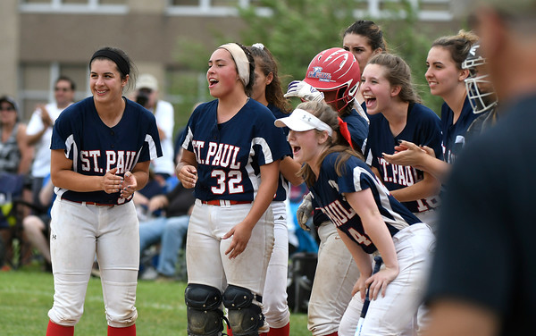 6/2/2018 Mike Orazzi | Staff St. Paul's girls as Katelynn Oullette (51) rounds the bases after a three run home run during the Class S Quarterfinal softball game with Holy Cross in Bristol Saturday.