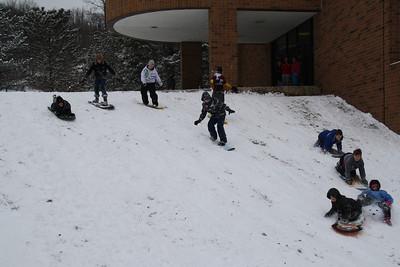 Kids Sledding & Boarding Down Hill, Elementary School, Tamaqua (1-21-2012)