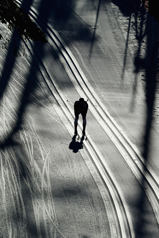 . A Cross Country skiers trains  ahead of the Sochi 2014 Winter Olympics at the Laura Cross-Country Ski and Biathlon Center on February 4, 2014 in Sochi, Russia.  (Photo by Al Bello/Getty Images)