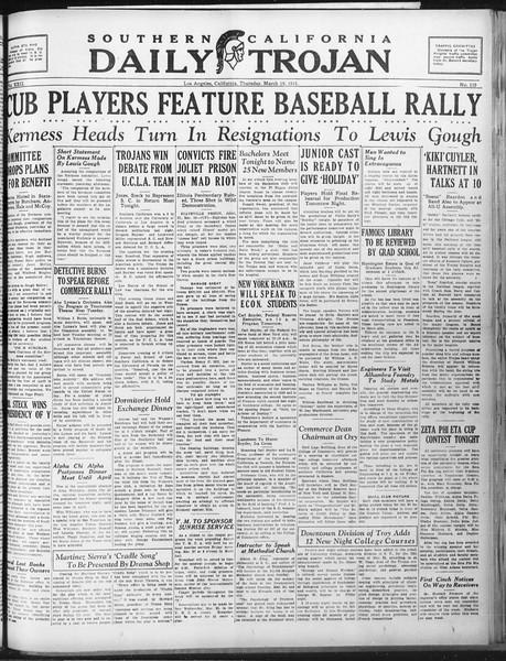 Daily Trojan, Vol. 22, No. 110, March 19, 1931