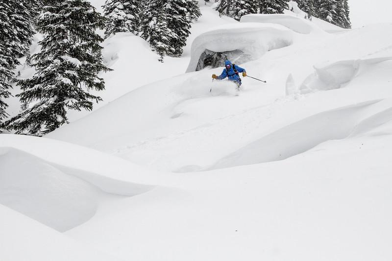 Martin checking the boneyard snowpack