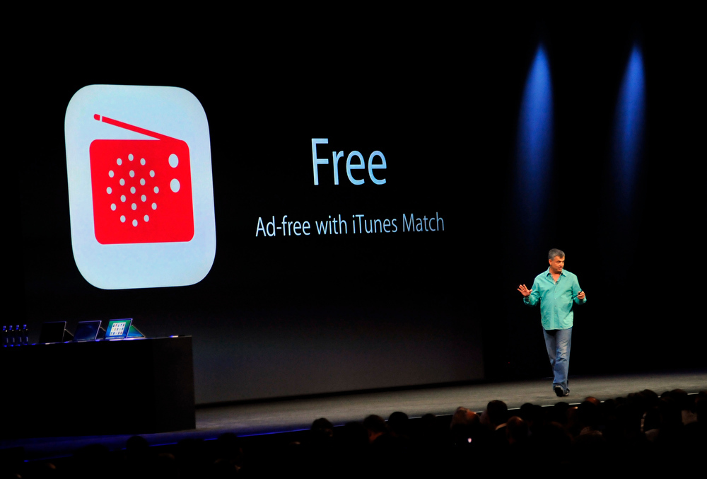 . Eddy Cue, Apple\'s Senior Vice President of Internet Software and Services, introduces iTunes Radio at Apple\'s Worldwide Developer Conference (WWDC) in San Francisco on June 10, 2013.   Josh Edelson/AFP/Getty Images