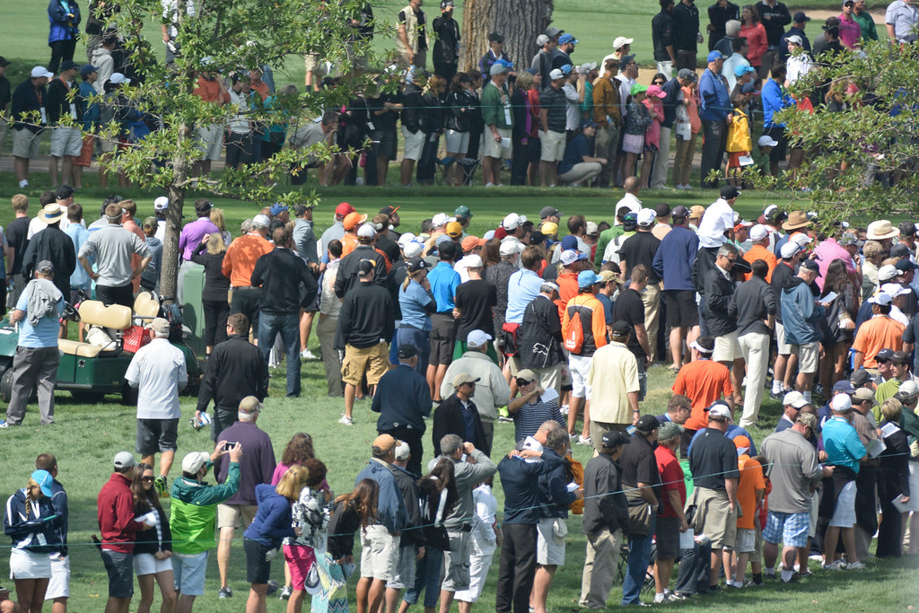 . CHERRY HILLS VILLAGE, CO - SEPTEMBER 06: The gallery lines the the course during the third round of the 2014 BMW Championship September 6, 2014 at Cherry Hills Country Club. (Photo by John Leyba/The Denver Post)