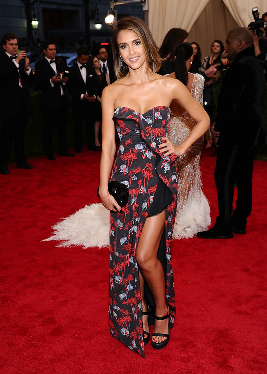 """. Jessica Alba arrives at The Metropolitan Museum of Art\'s Costume Institute benefit gala celebrating \""""China: Through the Looking Glass\"""" on Monday, May 4, 2015, in New York. (Photo by Charles Sykes/Invision/AP)"""